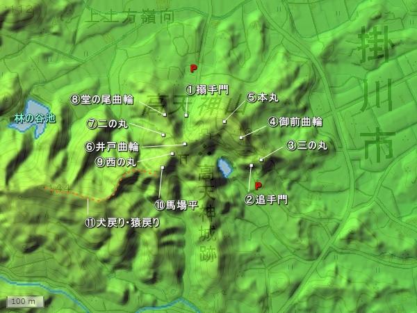 高天神城地形図