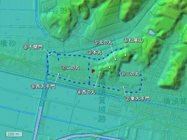 横須賀城地形図
