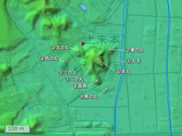 久野城地形図