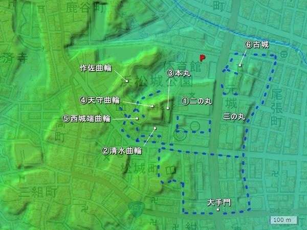 浜松城地形図