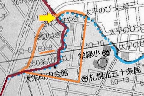 北区東区の境目 地図④