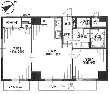 キクエイパレス戸越201号間取り図_R