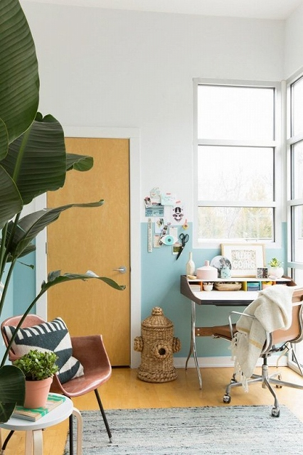 teal and white office