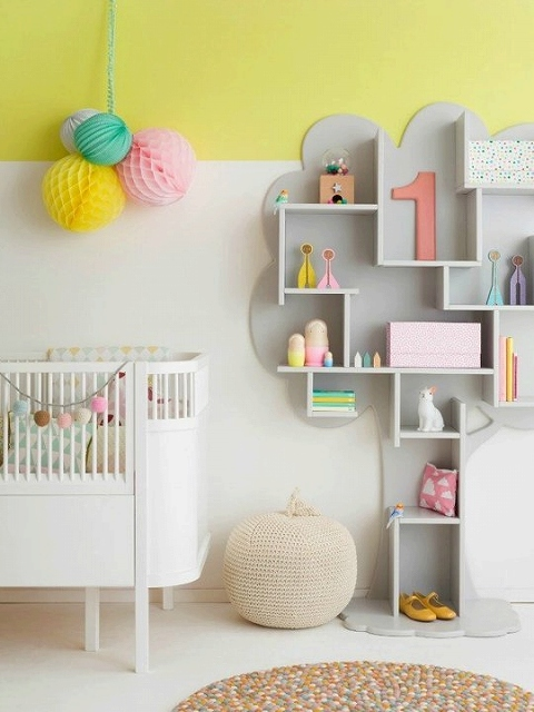 yellow and white kids room
