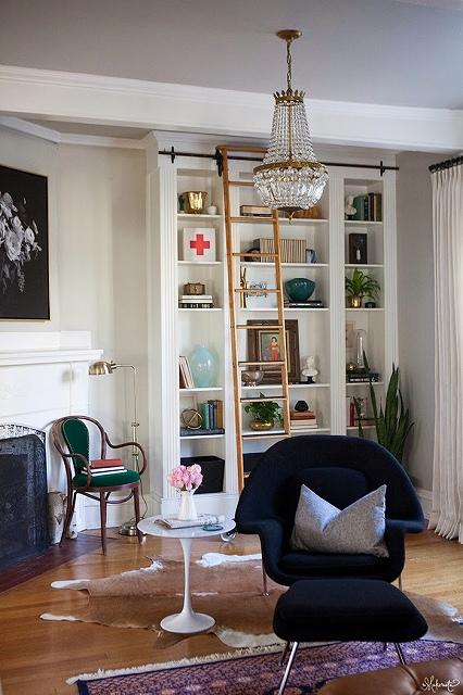 The-Makerista-Ikea-Bookshelf-Hack-Billy-Built-ins-French-Basket-Chandelier-Library-Ladder.jpg