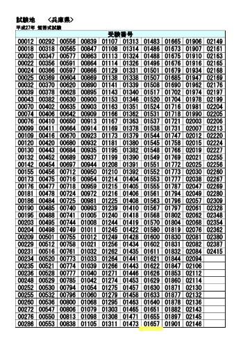 試験地別合格者番号【兵庫県】