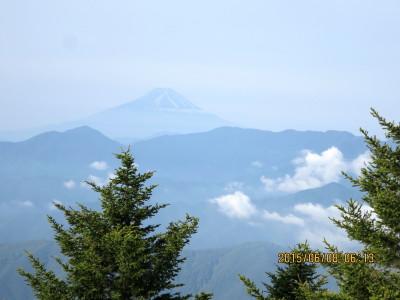 三条ダルミへの下りから富士山