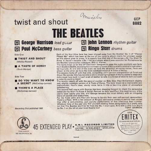 The Beatles Twist And Shout EP Back Cover