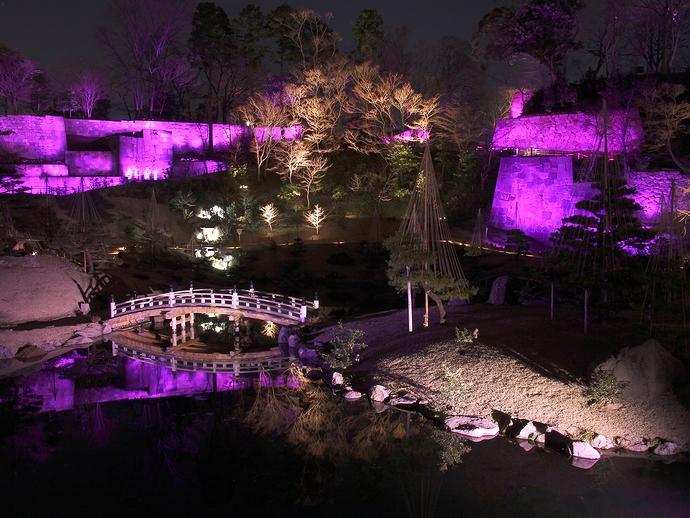 玉泉院丸庭園ライトアップ「四季折々の灯り・春バージョン」