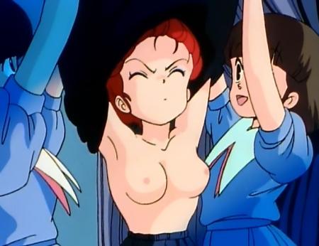 らんま1/2TV版 早乙女らんまの胸裸脱衣シーン乳首149