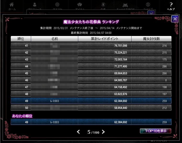 2014/04/07時点 ローズ 41〜50位