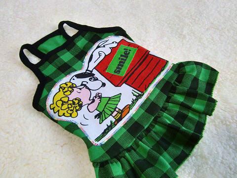 Snoopyパッチ:ブロックチェックキャミわんぴ*