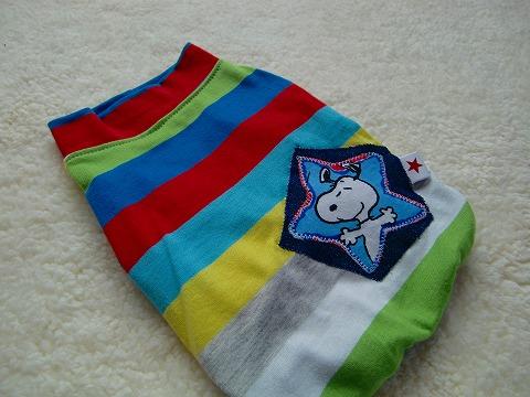 M*mania★カラフルボーダーSnoopyパッチTシャツ