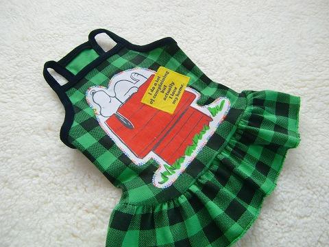 Snoopyパッチ:ブロックチェックキャミわんぴ greenC