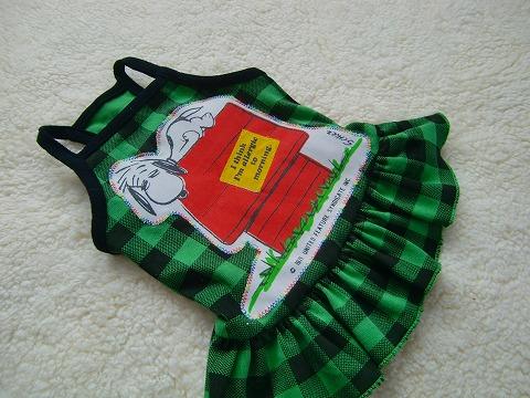 Snoopyパッチ:ブロックチェックキャミわんぴ greenJ