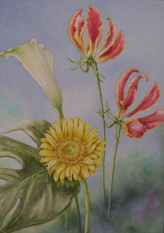 3種類の花と葉っぱ
