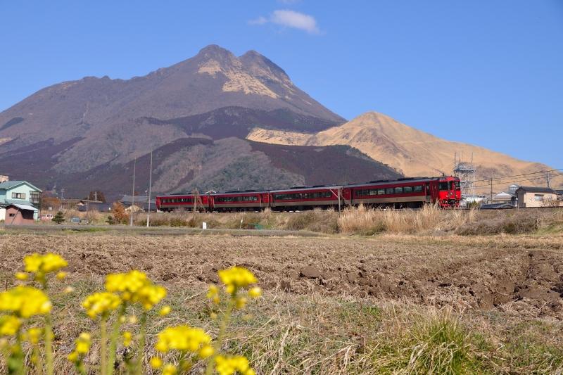 由布岳と列車 (4)
