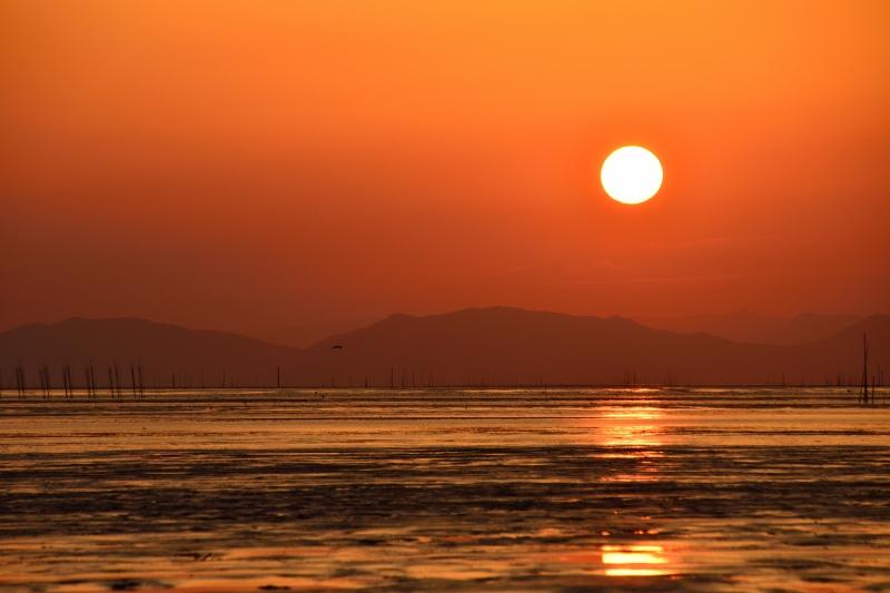 柳川の夕日 006