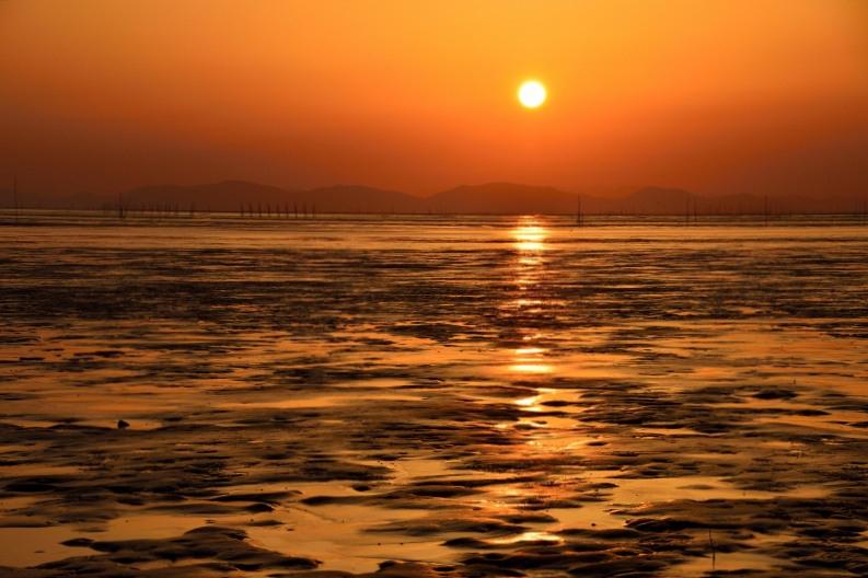 柳川の夕日 005