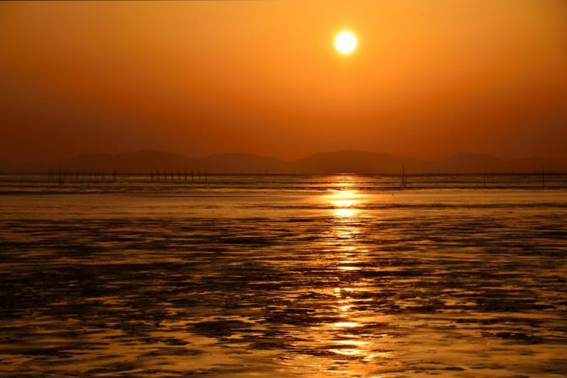 柳川の夕日 002