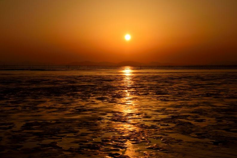 柳川の夕日 001