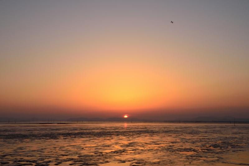 柳川の夕日 012