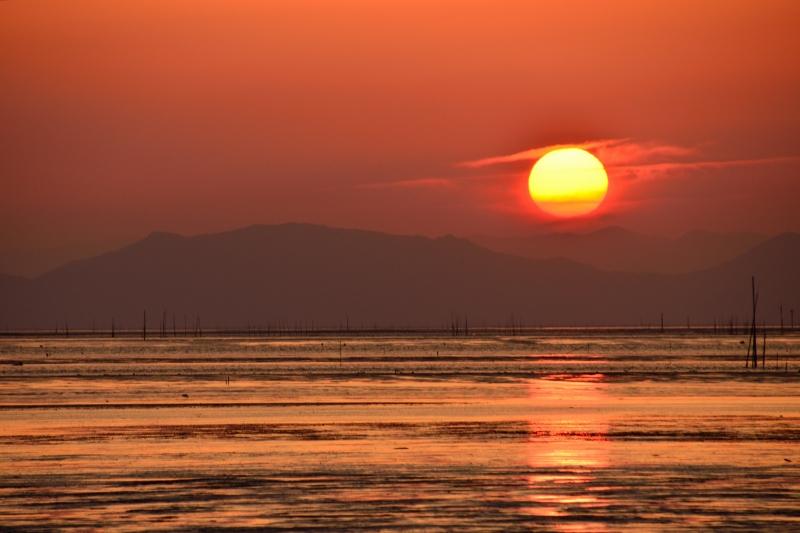 柳川の夕日 010