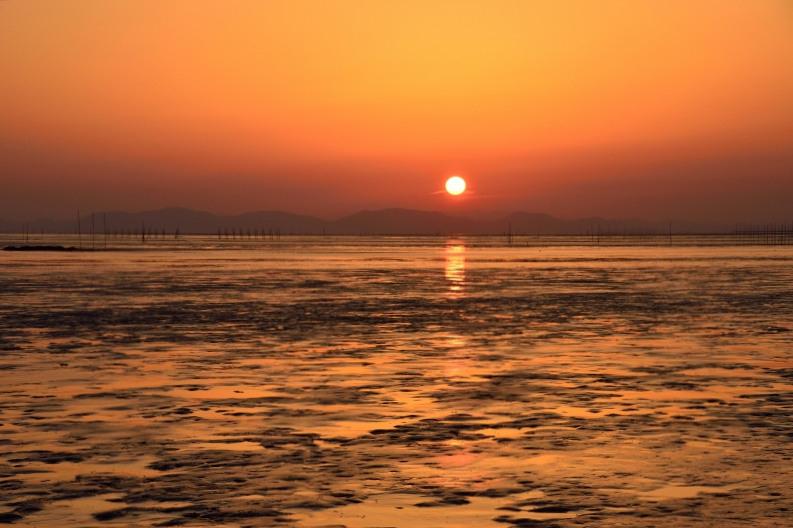 柳川の夕日 009