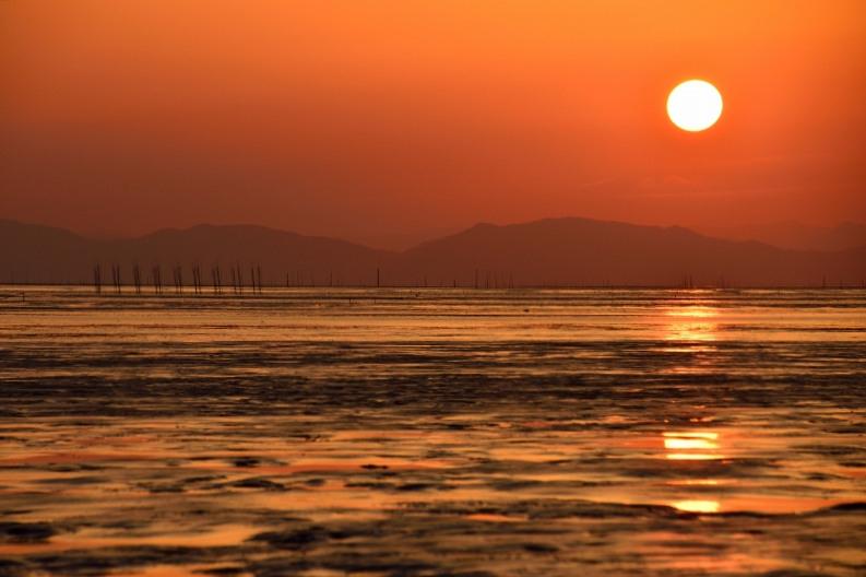 柳川の夕日 007