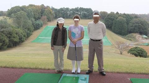 ゴルフ練習場にて