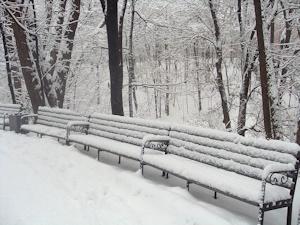 雪のベンチその2