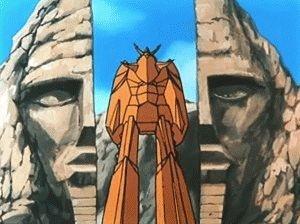 人面岩から出現した素体ライディーン