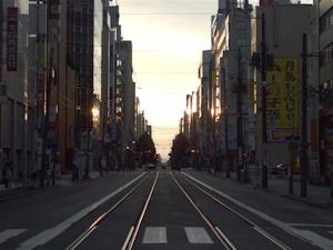 朝焼けの札幌