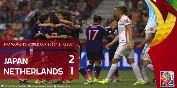 #JPN tops #NED 2-1 at BC Place as defending champs advance to quarterfinal