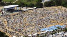 沖縄の教科書検定に抗議する集会の10万人