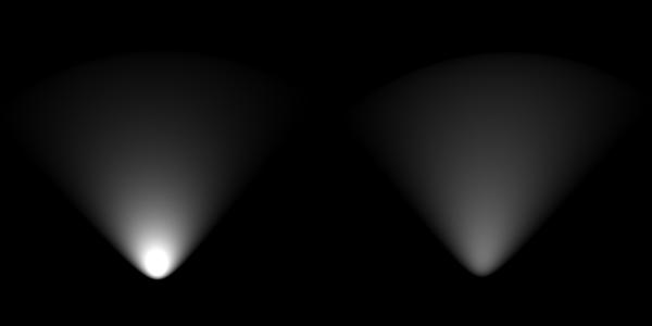 スポットライト光の減衰
