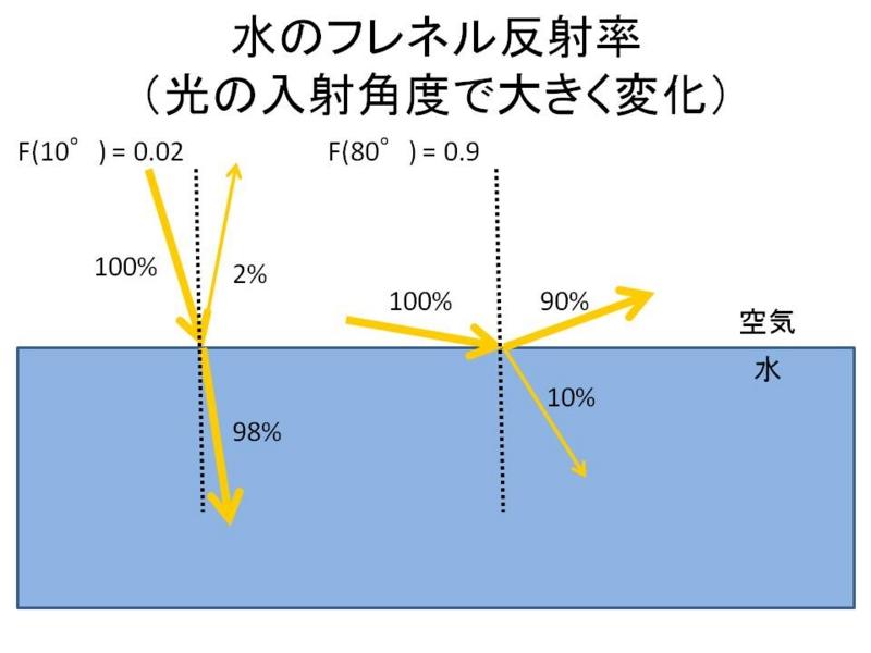 水のフレネル反射率