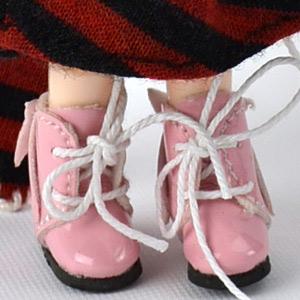 バックリボン付き編み上げブーツ ピンク