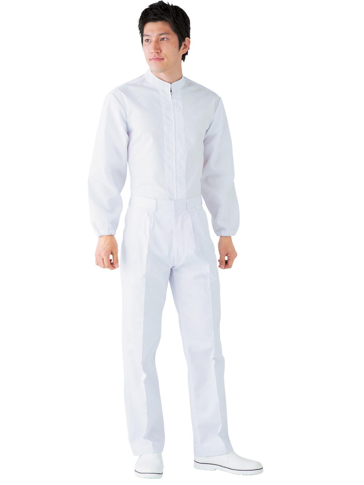 男子ツータック白パンツ SKH433