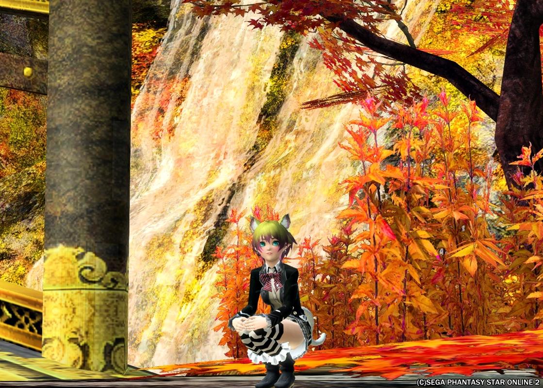 黒ノ領域の紅葉と滝の風景