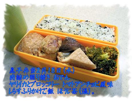 2月19日のお弁当 高校→塾