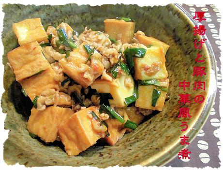 厚揚げと豚肉の中華風うま煮