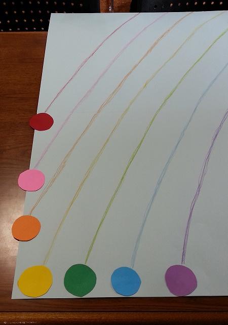 すべての折り紙 豆入れ 折り紙 : 模造紙に七色の丸を並べる線を ...