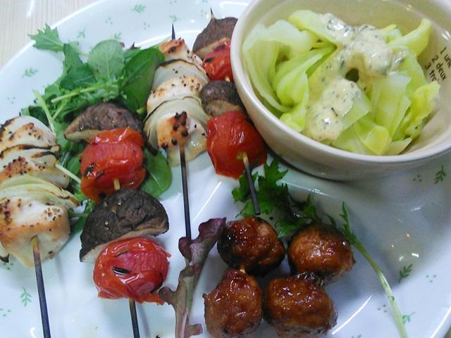鶏肉と野菜の串さし