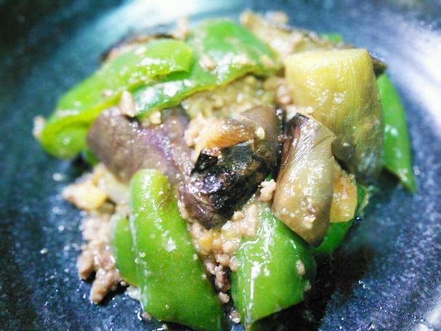 茄子とピーマンの味噌肉炒め
