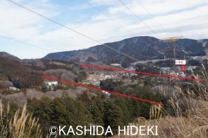 山の上からの車両基地予定地