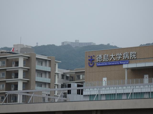 徳大病院駐車場3階から眉山を見上げる