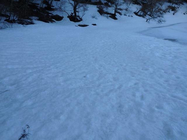 池の南側は雪が多い