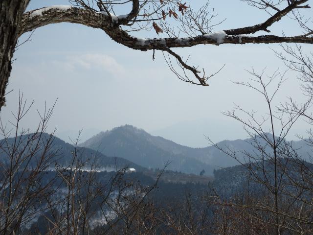 奥野々山の奥に薄らと高城山が見える