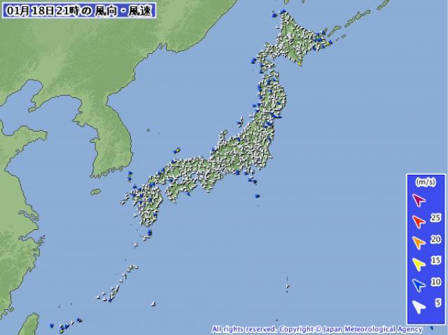日本全国穏やかな状態